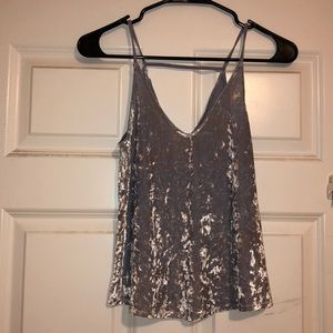 American Eagle Blue/gray velvet tank top